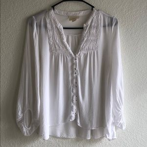 Anthro Maeve White Blouse Top Shirt Size 0